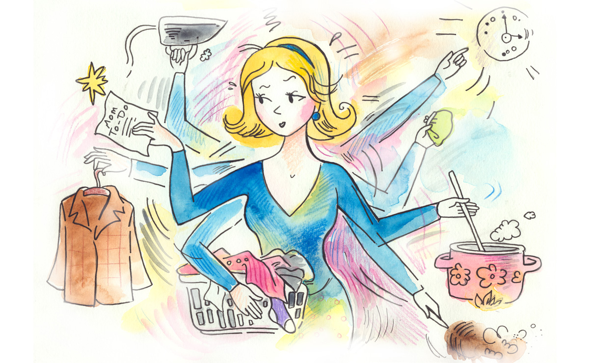 woman working in chaos